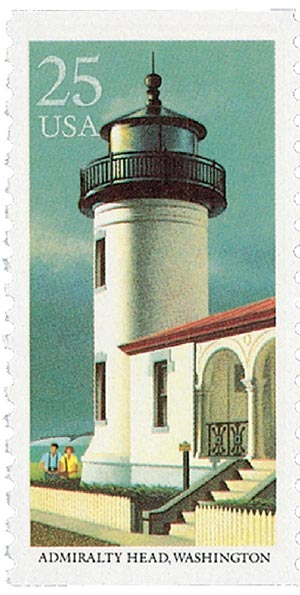 1990 25c East Coast Lighthouses: Admiralty Head, Washington