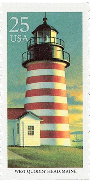 1990 25c East Coast Lighthouses: West Quoddy Head, Maine
