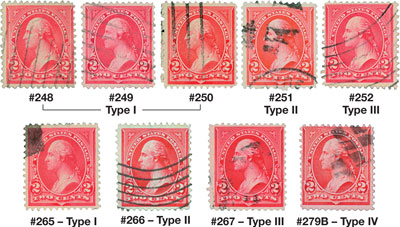 1894-95 2c Bureau Issue Triangles,9 used