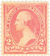 1894 2c Washington, pink, unwatermarked, type I