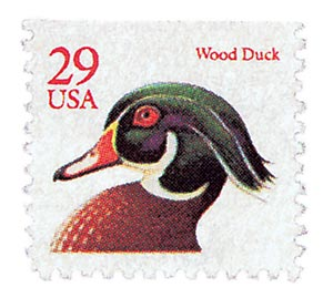 1991 29c Wood Duck, red, booklet single