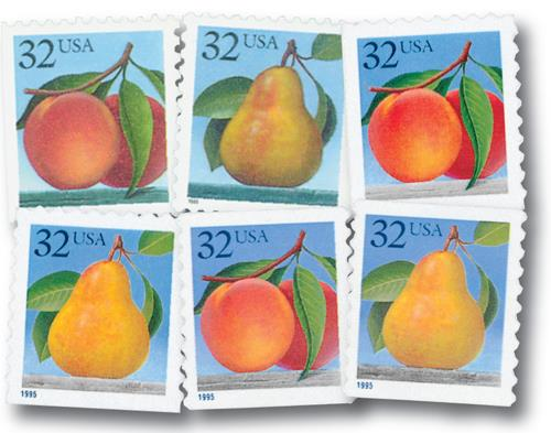 1995 Peaches and Pears, Set of 6 Mint