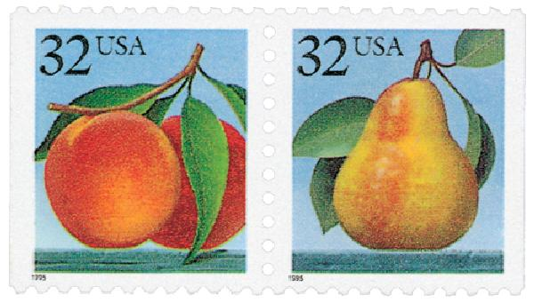 1995 32c Peaches & Pear, bklt
