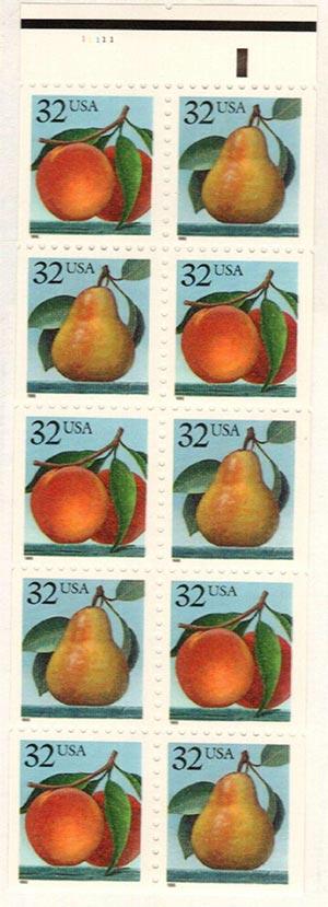 1995 32c Peaches & Pear, bkltne
