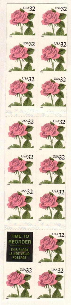 1995 32c Pink Rose,self-adh,pane 15+labl