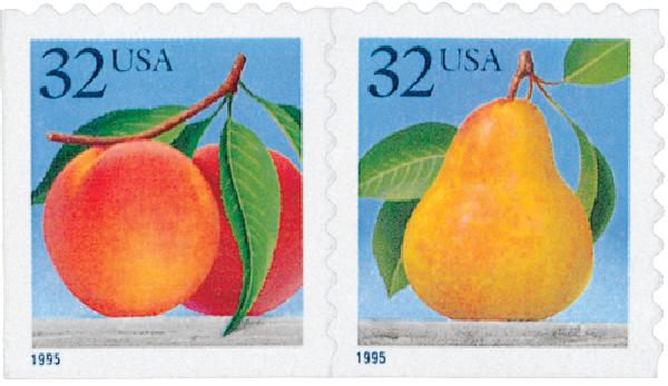 1995 32c Peaches and Pear, from self-adhesive booklet