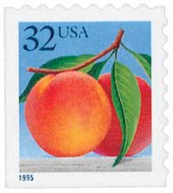 1995 32c Peaches, self-adhesive booklet single