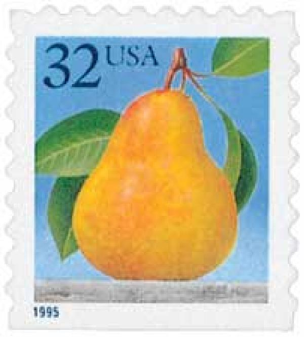 1995 32c Pear, self-adh, single