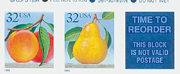 1995 32c Peaches & Pear, s/a pair