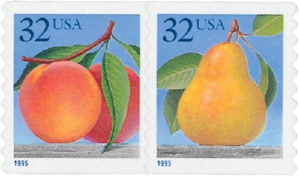 1995 32c Peaches & Pear, self-adhesive coil pair