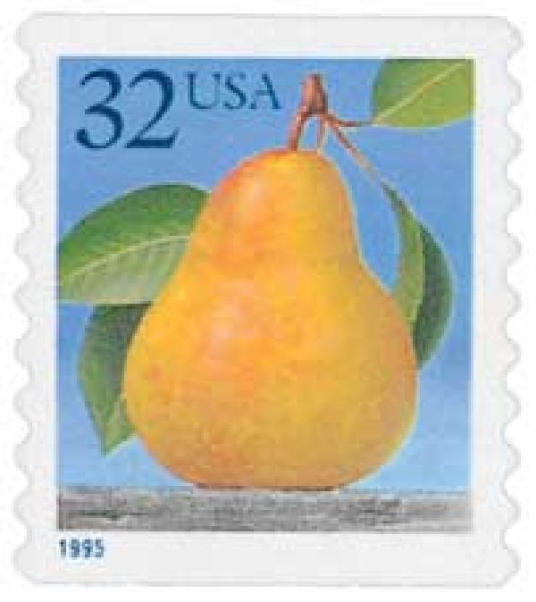 1995 32c Pear, self-adhesive coil