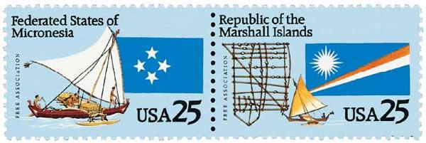 1990 25c Micronesia and Marshall Islands