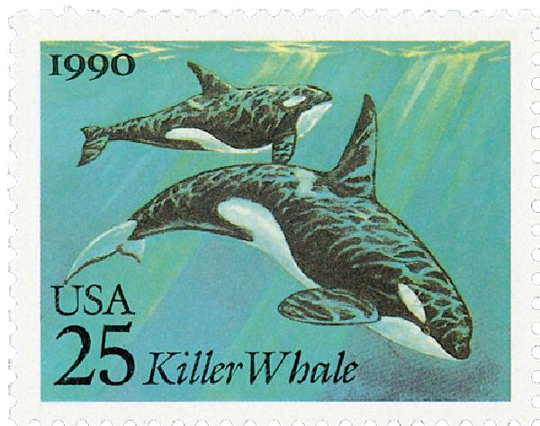 1990 25c Sea Creatures: Killer Whales
