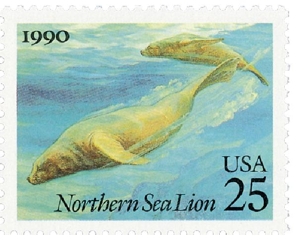 1990 25c Sea Creatures: Sea lion