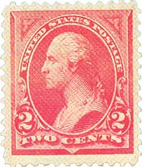 1895 2c Washington unwmrk carmine T2