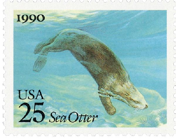 1990 25c Sea Creatures: Sea Otter
