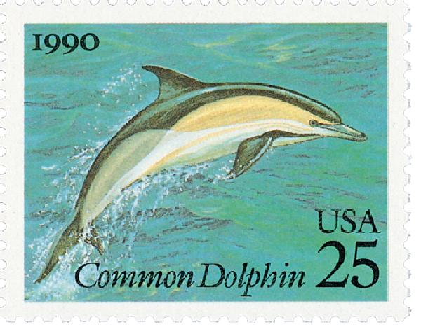 1990 25c Sea Creatures: Common Dolphin