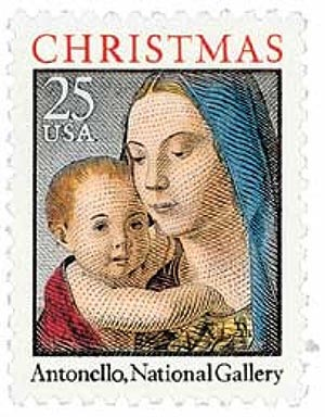 1990 25c Traditional Christmas: Madonna and Child