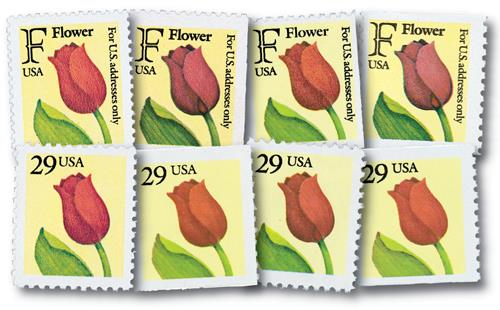 1991 F-Rate Flower, set of 8 stamps