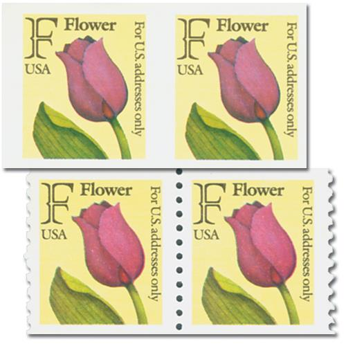 1991 29c F-Rate Flower, imperf pair with free normal pair