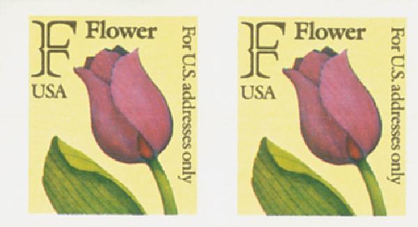 """1991 29c """"F"""" Stamp,coil,imperf pair"""
