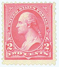 1895 2c Washington unwmrk Carmine T3