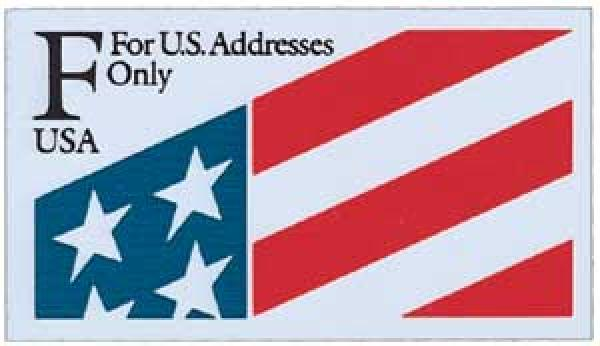 1991 29c 'F' Flag Plastic Stamp,single
