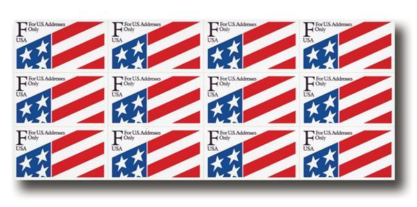 """1991 29c """"F"""" Plastic Flag Stamp,pane(12)"""