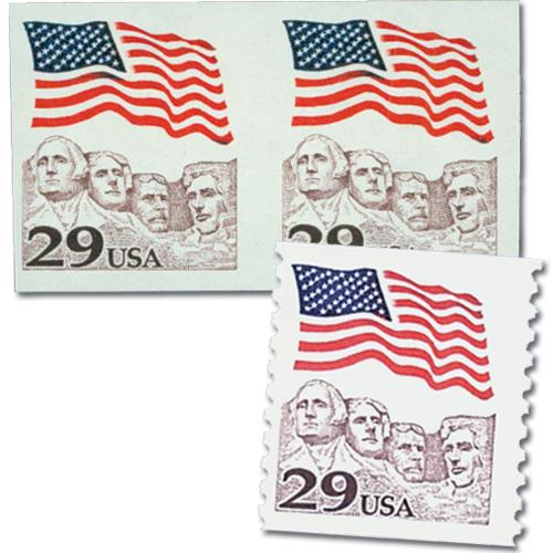 1991 29c Flag over Mount Rushmore, imperf pair with normal