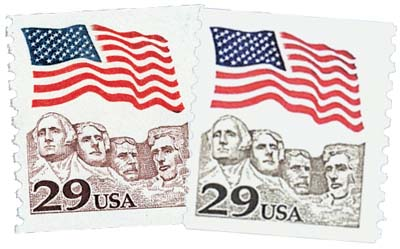 1991 29c Flag over Mount Rushmore, color error with normal