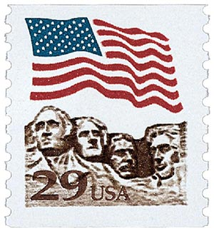 1991 29c Flag over Mount Rushmore, gravure version