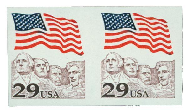 1991 29c Flag/Mt.Rushmore, Imperf pair