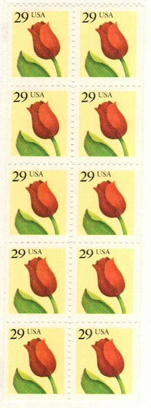 1991 29c Flower, bklt pane of 10