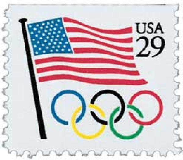 1991 29c Flag and Olympic Rings