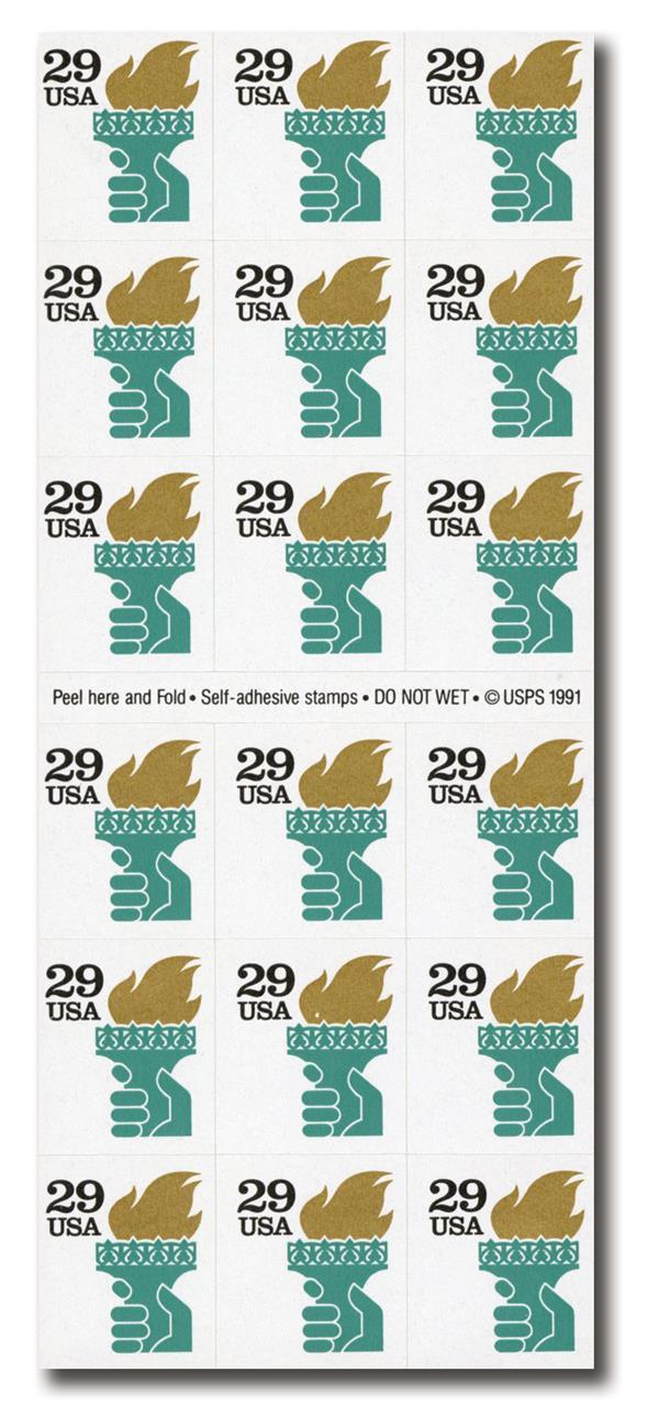 1991 29c Torch ATM,self-adh,pane of 18