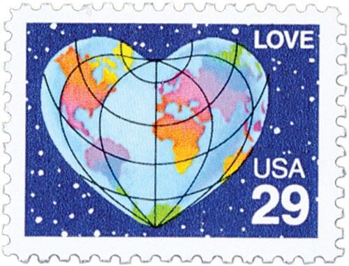1991 29c Love Series: Heart-Shaped Globe, perf 11