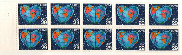 1991 29c Love, bklt pane of 10