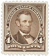 1894 4c Lincoln Unwatermarked, Dark Brown
