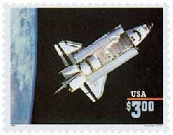 1995 $3 Space Shuttle 'Challenger', Priority Mail