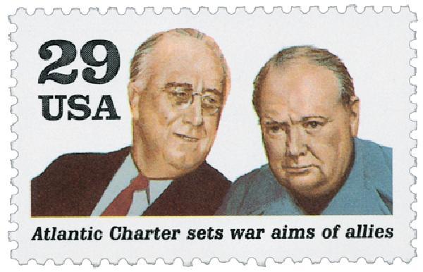 1991 29c Atlantic Charter,single