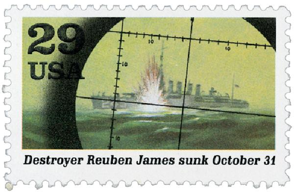 1991 29c Destroyer Reuben James sunk,sng