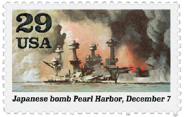 1991 29c World War II: Japanese Bomb Pearl Harbor
