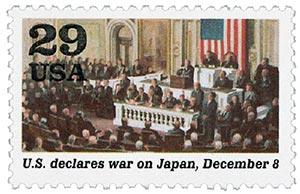 1991 29c U.S. Declares War,single