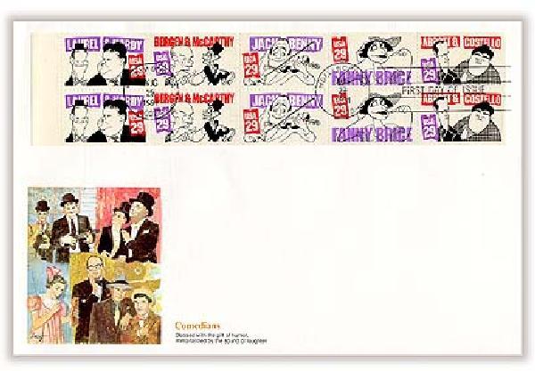 1991 29c Comedians Bklt Pane First Day Cover