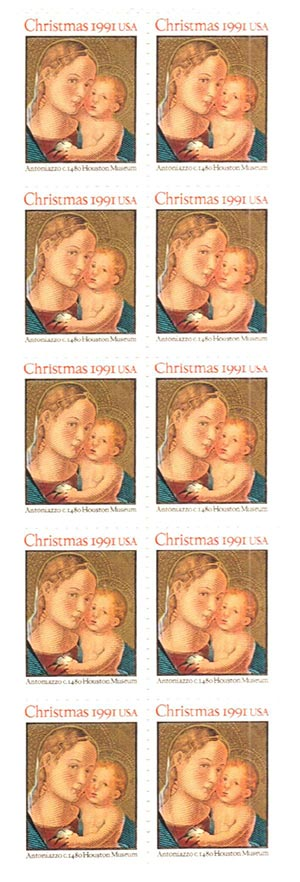 1991 29c Madonna and Child,bklt pane(10)