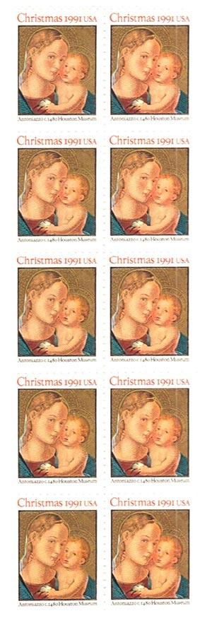 1991 29c Madonna and Child,bklt pane(10)