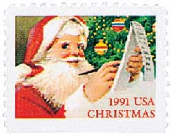 1991 29c Contemporary Christmas: Santa and List