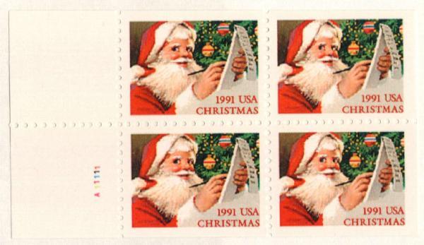 1991 29c Santa Checking List,bklt pane 4