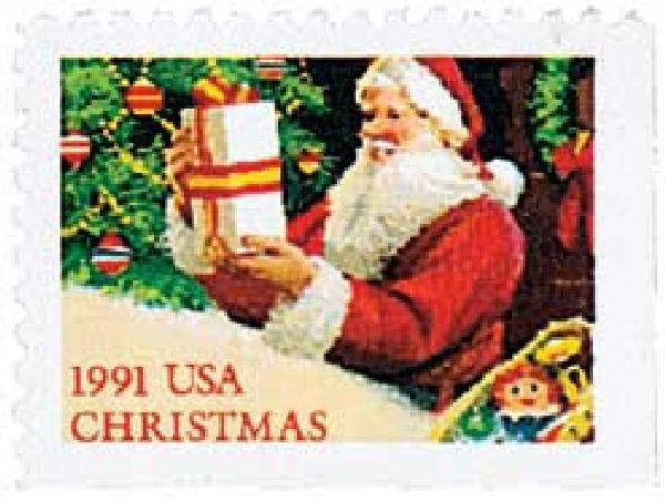1991 29c Contemporary Christmas: Santa with Present