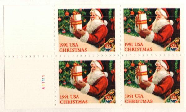1991 29c Santa w/ Present, bklt pane 4
